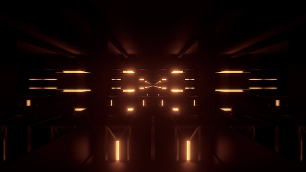 Perspective 3d illustration of symmetric abstract corridor with glowing yellow neon lights on dark background