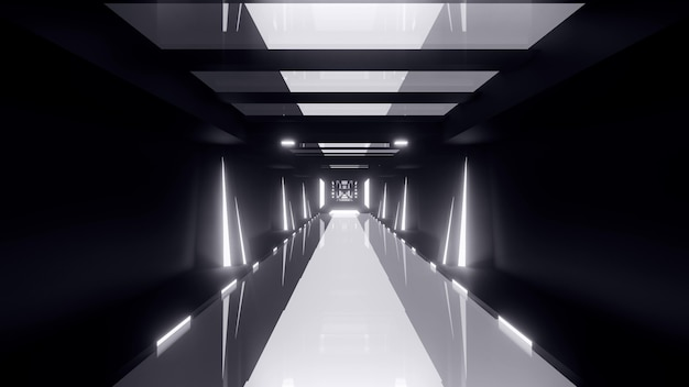 Perspective abstract 3d illustration of endless symmetric tunnel illuminated by white neon lights