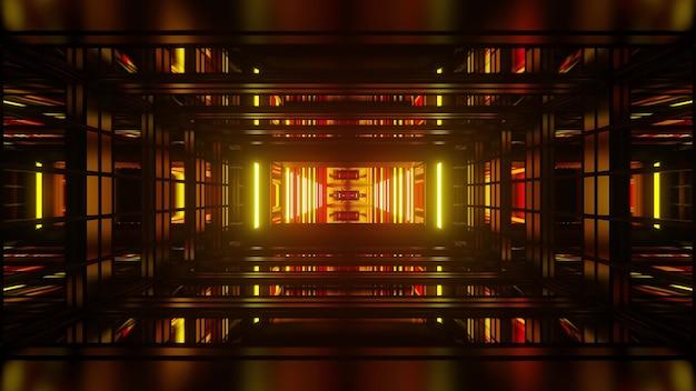 반복되는 기하학적 모양과 빛나는 노란색 및 빨간색 조명으로 구성된 원근 추상 3d 그림