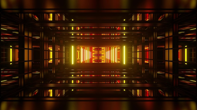 Perspective abstract 3d illustration made of repeating geometric shapes and glowing yellow and red lights
