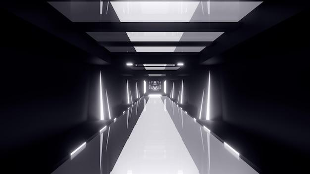흰색 네온 불빛으로 빛나는 끝없는 대칭 터널의 원근 추상 3d 그림