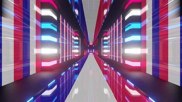 측면에 프랑스 국기와 빛나는 네온 불빛이 있는 빛나는 기하학적 터널의 원근감 있는 추상 3d 그림