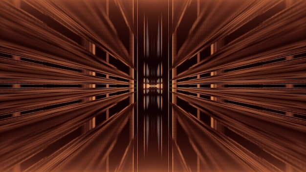 Perspective abstract 3d illustration of symmetric endless tunnel made by brown beams on black background