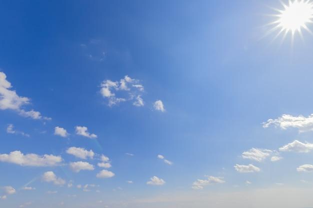 Перспективное голубое небо с облаками и солнцем справа свет справа