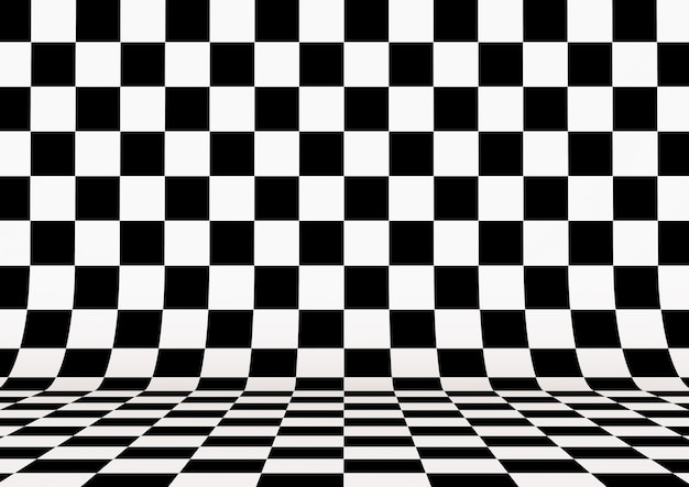 Perspective checkered square background. 3d illustration.