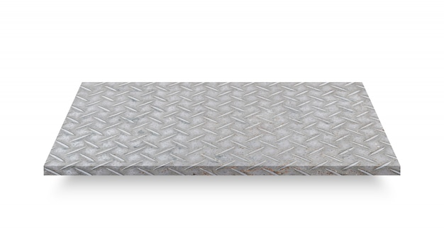 Perspective of diamond steel plate isolated on white background. object with clipping path