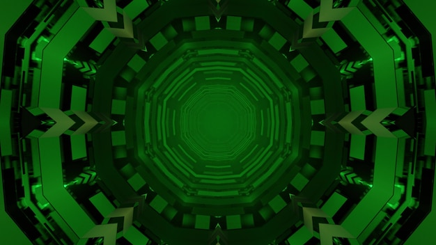 Perspective dynamic 3d illustration of green abstract geometrical circles repeating and forming spherical corridor