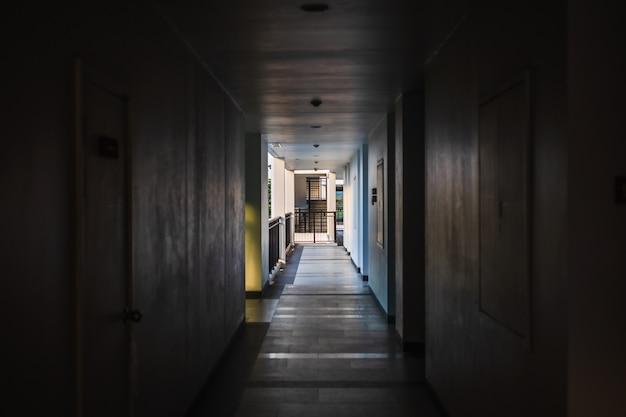 Perspective of empty corridor in apartment building