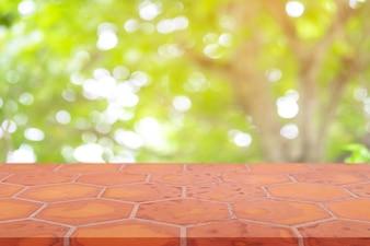 Perspective empty mon brick flooring (clay brick)  blur natural background