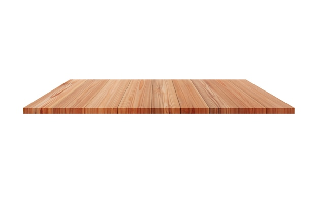 Perspective empty wooden table with white background including clipping path for product display montage or design layout.