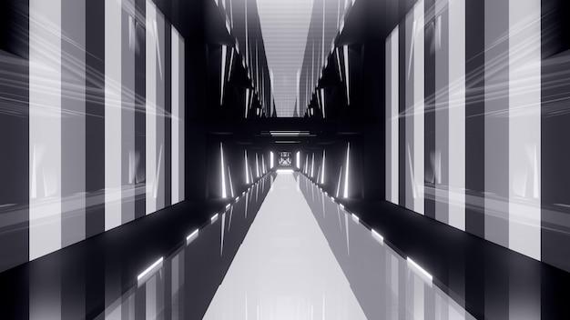 기하학적 모양으로 형성되고 네온 불빛으로 조명된 원근감 있는 회색 3d 그림