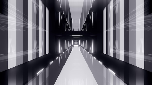 Perspective gray 3d illustration formed by geometric shapes and illuminated by neon lights