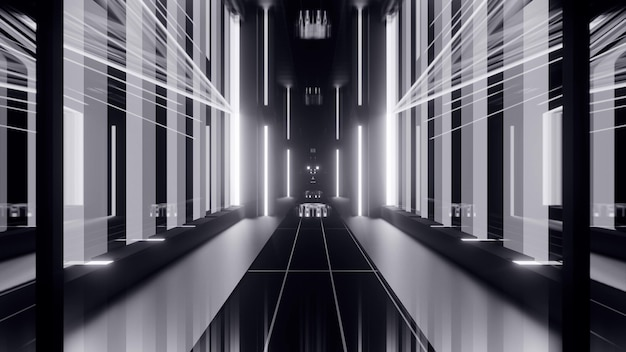 Perspective luminous 3d illustration of abstract symmetrical passage with glowing gray lights and geometrical elements