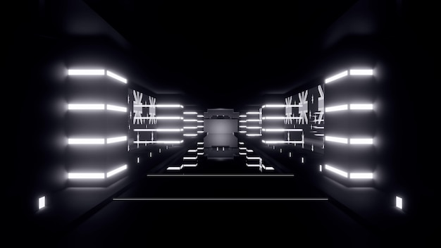 Perspective luminous 3d illustration of geometric tunnel formed by illuminated symmetrical shapes in darkness