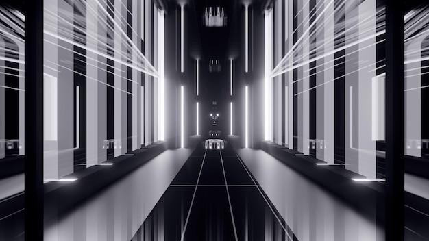 빛나는 회색 조명과 기하학적 요소가 있는 추상 대칭 통로의 원근감 있는 3d 그림