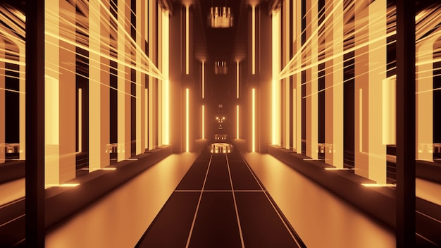 Perspective luminous 3d illustration of symmetric passage formed by geometric shapes and glowing yellow lamps