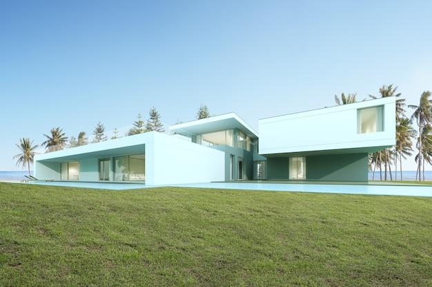 芝生の庭のあるモダンな高級住宅の展望