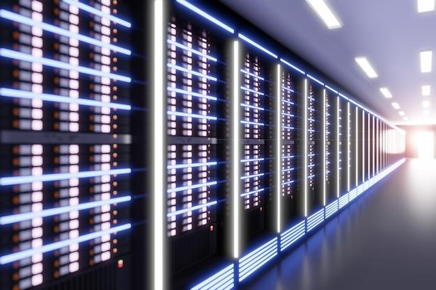 라이트 플레어가 있는 서버 컴퓨터실의 관점. 3d 일러스트레이션 렌더링입니다. 선택적 초점 효과 이미지입니다.
