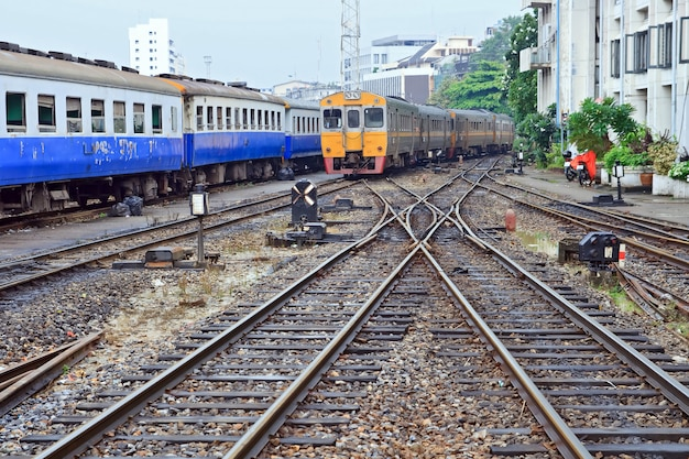 Perspective of orange deisel train locomotive
