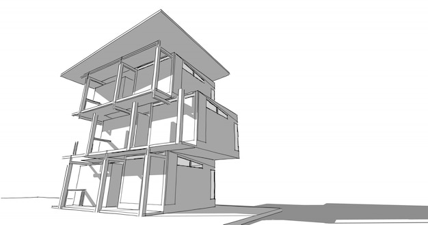Perspective outline architecture building 3d illustration, modern urban architecture