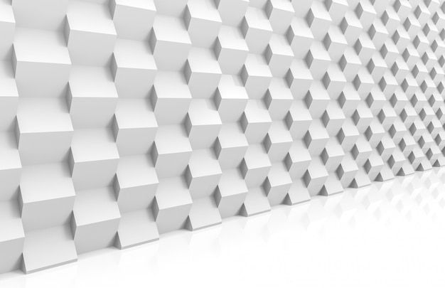 Perspective view of abstract modern stack of random luxury white cube boxes wall