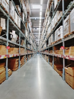 Perspective view of aisle between shelves at retailed store warehouse