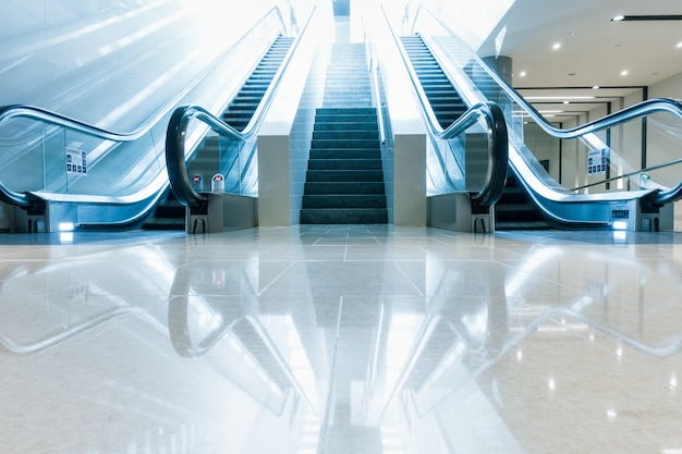 Perspective view of architecture interior escalator stairway facility