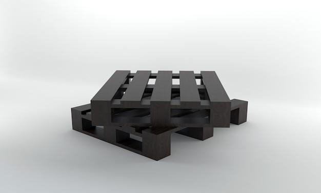 Вид в перспективе темный деревянный поддон 3d визуализации