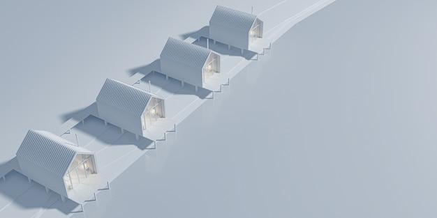 Перспективный вид сверху на несколько сельских домов в стиле амбар, построенных в линию у озера. концепт-арт в серых тонах с вечерним теплым и холодным освещением с копией пространства. 3d иллюстрации.