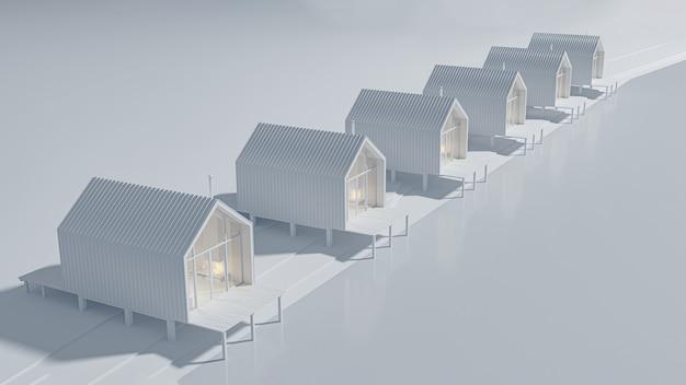 湖のほとりに一列に建てられた納屋のようないくつかの田舎の家の上からの斜視図