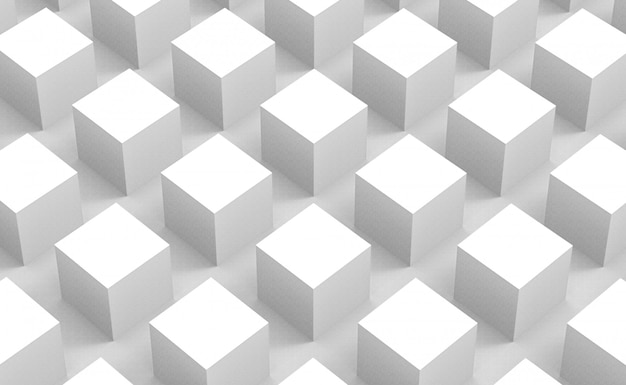 Perspective view of modern abstract white square cube box bar stack wall