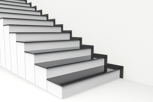 Perspective view of modern black plate on white cement stairs background.