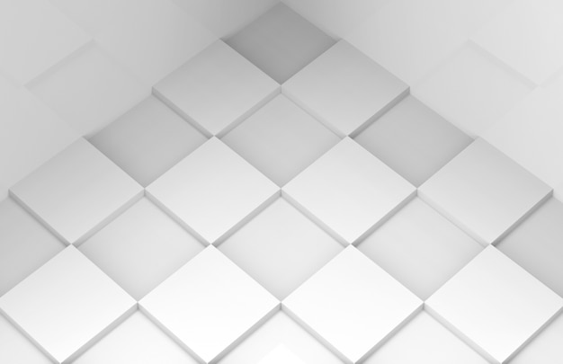 Perspective view of modern minimal style white square grid tile floor