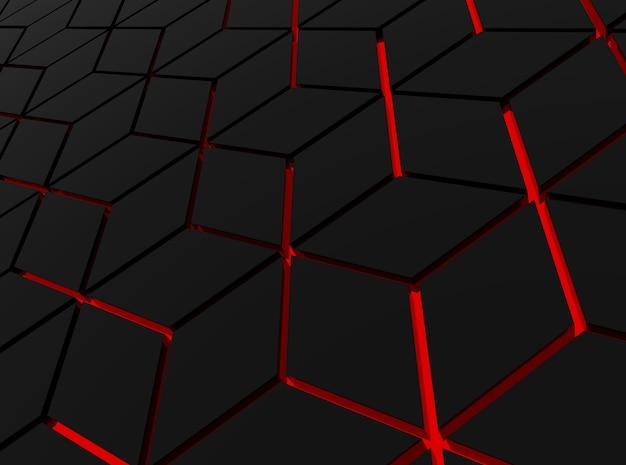 Perspective view of modern red light hexagonal shape pattern floor background.