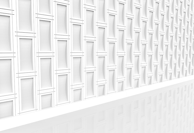 Perspective view of modern white rectangle brick stack wall and walking way