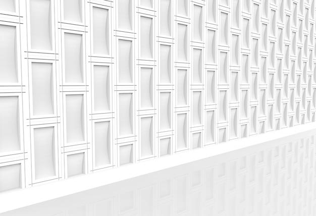 현대 흰색 사각형 벽돌 스택 벽과 걷는 방법의 투시도