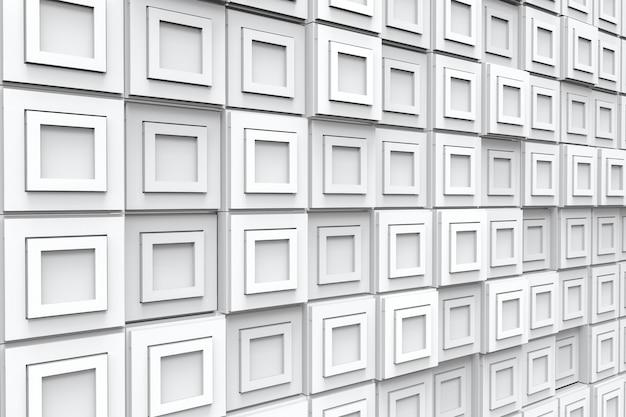 현대 흰색 사각형 타일 블록 벽 배경의 투시도.
