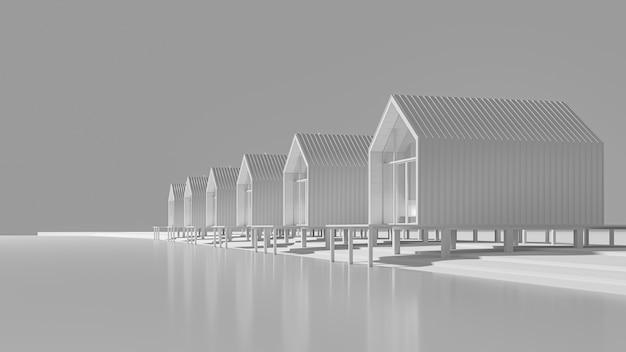 湖のほとりに並ぶいくつかの田舎の納屋スタイルの家の斜視図。グレーの色合いのコンセプトアート