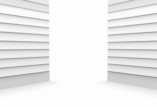 2つの灰色の木製パネルの端の壁と床の斜視図