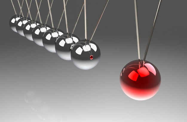 Perspective view of red ball hit another pendulum group. one force effect to all concept.