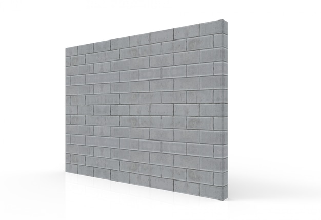 Perspective view of textured cement brick stack wall with clipping path