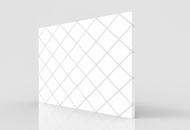 Perspective view of textured white grid pattern tile wall with clipping path