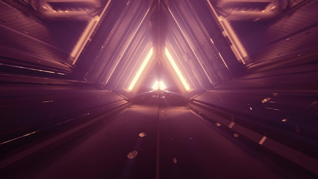 Perspective view through abstract futuristic corridor with geometric triangle shaped design and glowing neon lights in 4k uhd 3d illustration