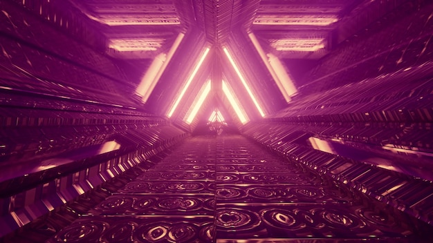 Perspective view through abstract futuristic tunnel with geometric interior design and neon lamps forming triangle ornament in 4k uhd 3d illustration