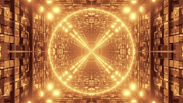 Perspective view through endless passage with futuristic geometric design and shiny golden lights forming symmetric ornament as abstract background 4k uhd 3d illustration