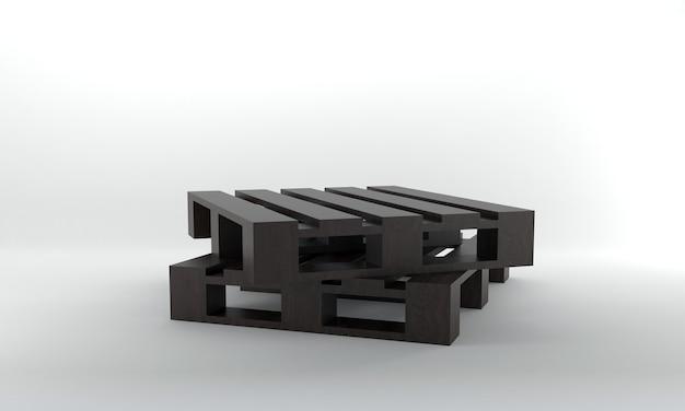 透視図2つの暗い木製パレットの3dレンダリング