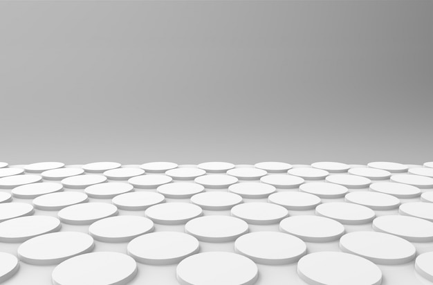 Perspective view of white circular button shape pattern design wall floor
