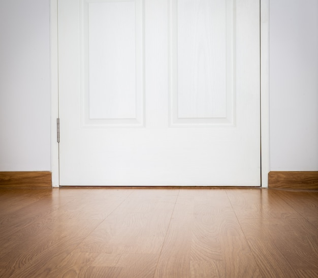 Perspective wood texture background and door