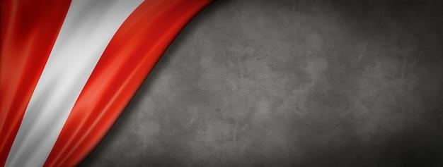 Peru flag on concrete wall. horizontal panoramic banner. 3d illustration