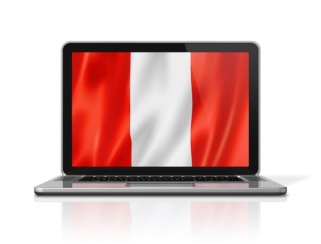 Peru flag on laptop screen isolated on white. 3d illustration render.